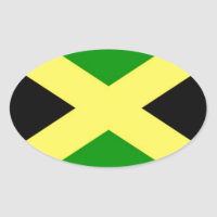Low Cost! Jamaica Flag Oval Sticker