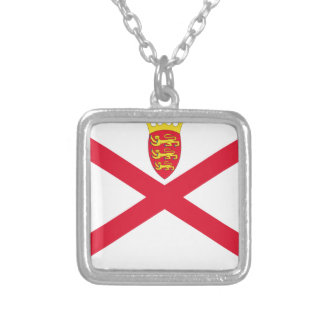 Low Cost! Jersey Flag Silver Plated Necklace