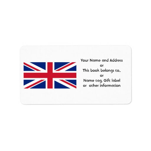 Low Cost Union Jack Name Gift Tag Bookplate Custom Address Label
