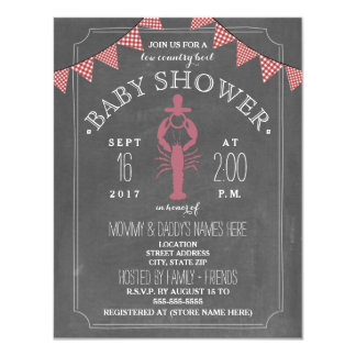 Low Country Boil Co Ed Girl Baby Shower - Pacifier 4.25x5.5 Paper Invitation Card