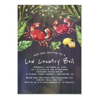 Low Country Boil Crab Cookout Dinner Party Invitation