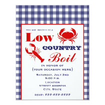 Low Country Boil Crab & Lobster Blue Gingham Card