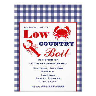 Low Country Boil Crab Lobster Blue Gingham Invite