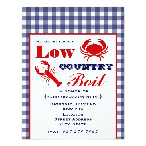 Low Country Boil Crab & Lobster Blue Gingham 4.25x5.5 Paper Invitation Card