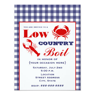 Low Country Boil Crab & Lobster Blue Gingham Invite