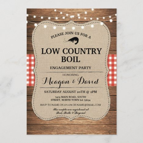 Low Country Boil Engagement Party Red Check Invitation