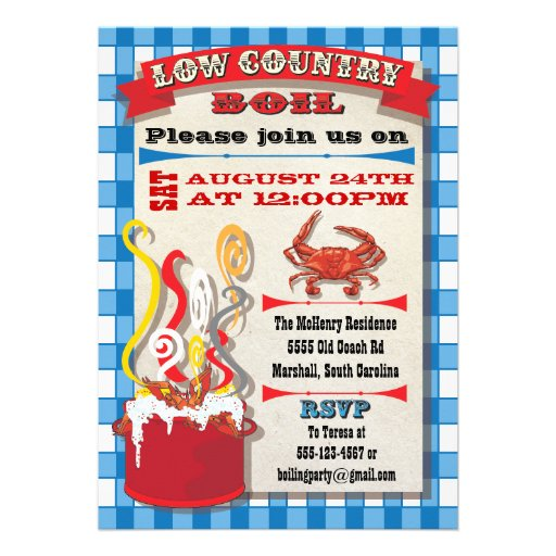 Low country boil party invitation 5 quot x 7 quot invitation card zazzle