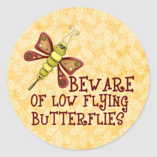 Low Flying Butterflies Classic Round Sticker