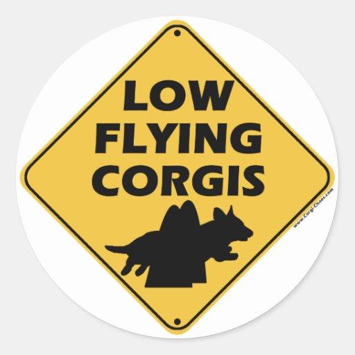 Low Flying Corgis (Cardigan) Round Stickers