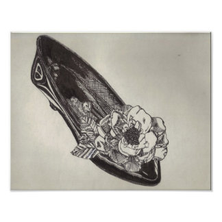 Low-Heeled Pump with Silk Flower Pen-and-Ink Print