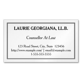 Low-Key Counsellor At Law Magnetic Business Card