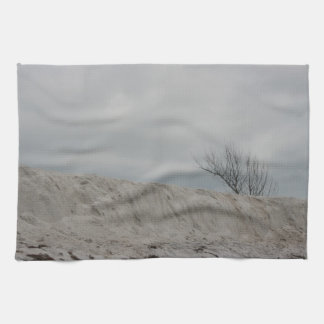 Low key photo of beach dune and dead tree kitchen towel