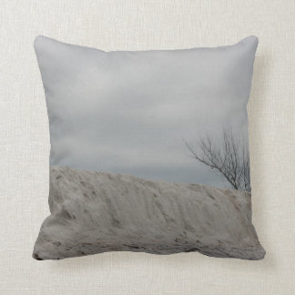 Low key photo of beach dune and dead tree throw pillow