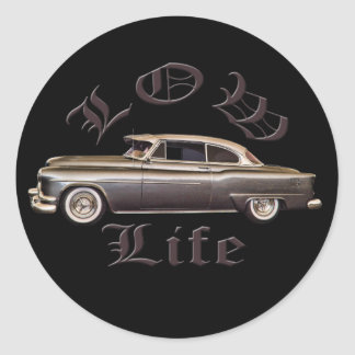 Low Life Oldsmobile Lowrider black Classic Round Sticker