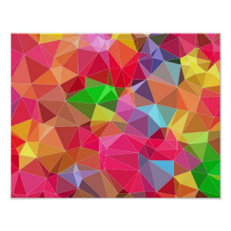 low poly background abstract pattern bright colors poster