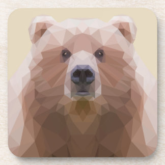 Low poly bear plastic coaster. Beige background. Drink Coaster