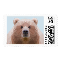 Low poly bear postage stamp