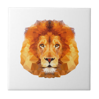 Low poly design. Lion illustration Tile