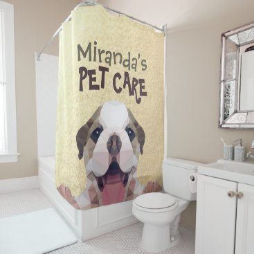 Low Poly Dog Pet Care Grooming Bathing Food Salon Shower Curtain