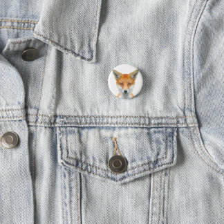 Low poly fox badge pinback button