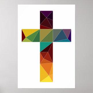 low poly god cross religion symbol polygon jesus poster