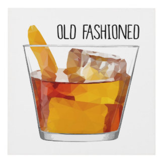 Low Poly Old Fashioned Cocktail Art Restaurant Art