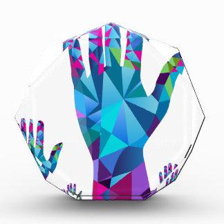 Low Poly Polygon Raised Hands Acrylic Award