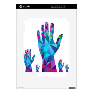 Low Poly Polygon Raised Hands iPad 2 Decals