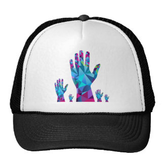 Low Poly Polygon Raised Hands Trucker Hat