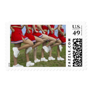 Low Section View of a Group of Cheerleaders Postage Stamp