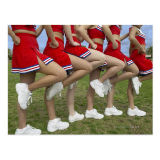 Low Section View of a Group of Cheerleaders Postcard