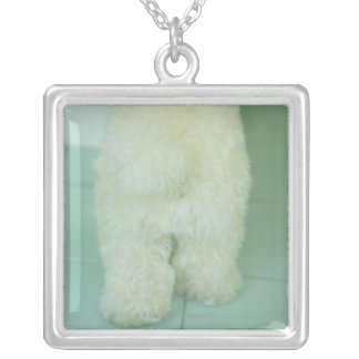 Low section view of a miniature poodle silver plated necklace