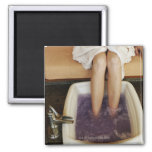 Low section view of a woman getting a pedicure 2 inch square magnet