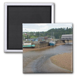 Low tide at the Bay of Fundy at St. Martins, New 2 Inch Square Magnet