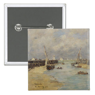 Low Tide at Trouville, 1895 (oil on panel) 2 Inch Square Button