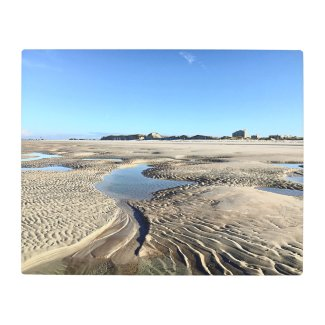 Low Tide Long View Sand Ripples Metal Print