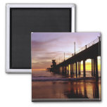 Low tide reflections at sundown, Huntington Beach 2 Inch Square Magnet
