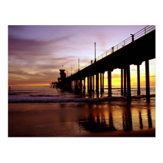 Low tide reflections at sundown, Huntington Beach Postcard