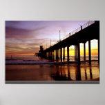 Low tide reflections at sundown, Huntington Beach Poster