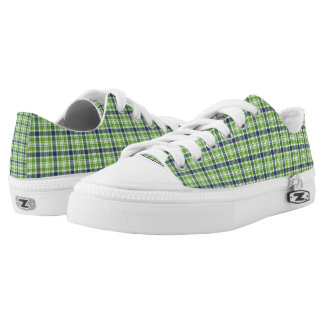 Low Top Shoes/Green and Blue Plaid