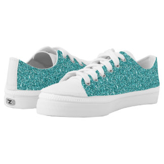 Low Top Shoes Teal glitter for men and women.