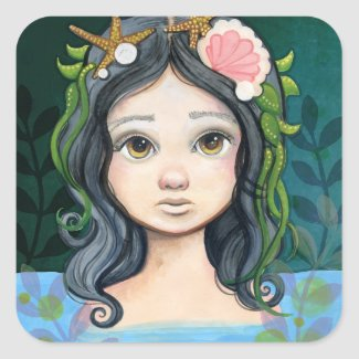 Lowbrow pop surrealism Mermaid Lagoon Painting Square Sticker