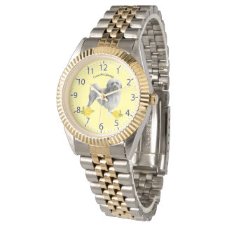 Lowchen and Yellow Roses Wrist Watch