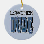 Lowchen DUDE Double-Sided Ceramic Round Christmas Ornament