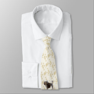 Lowchen on Tan Leaves printing on both sides Neck Tie