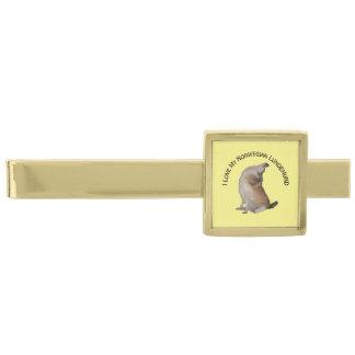 Lowchen on Yellow Gold Finish Tie Bar