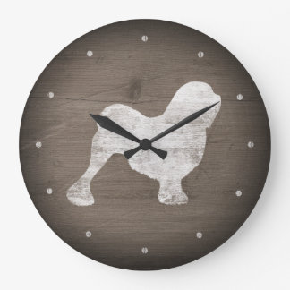 Lowchen Silhouette Rustic Style Large Clock