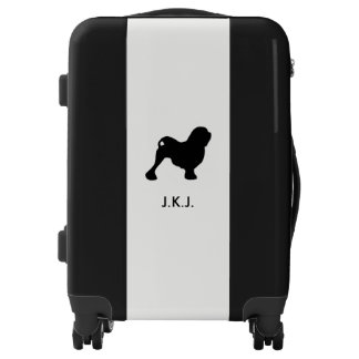 Lowchen Silhouette with Custom Text Luggage