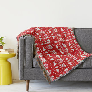 Lowchen Silhouettes Christmas Pattern Red Throw Blanket