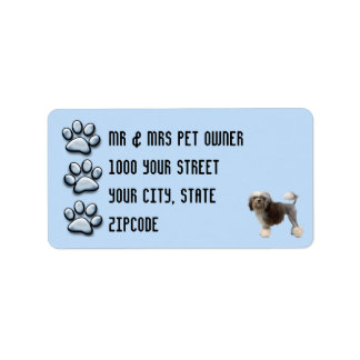 Lowchen with 3 Blue Pawprints Label
